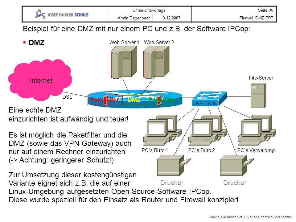Beispiel für eine DMZ mit nur einem PC und z.B. der Software IPCop: