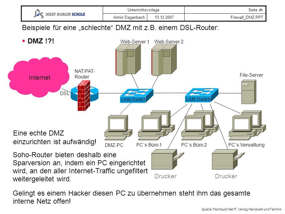 """Beispiele für eine """"schlechte DMZ mit z.B. einem DSL-Router:"""