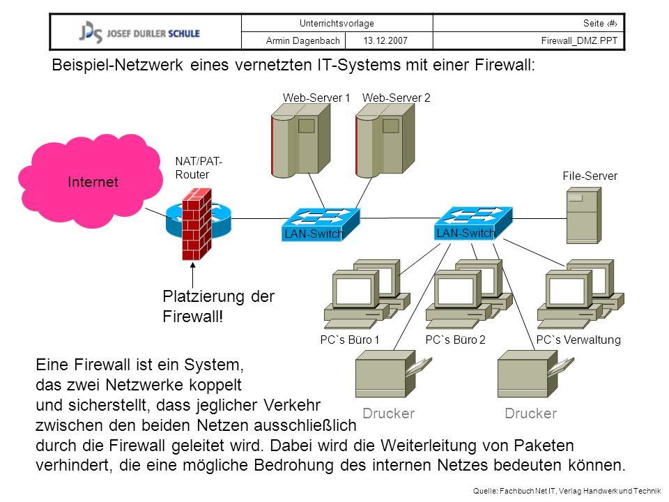 Beispiel-Netzwerk eines vernetzten IT-Systems mit einer Firewall:
