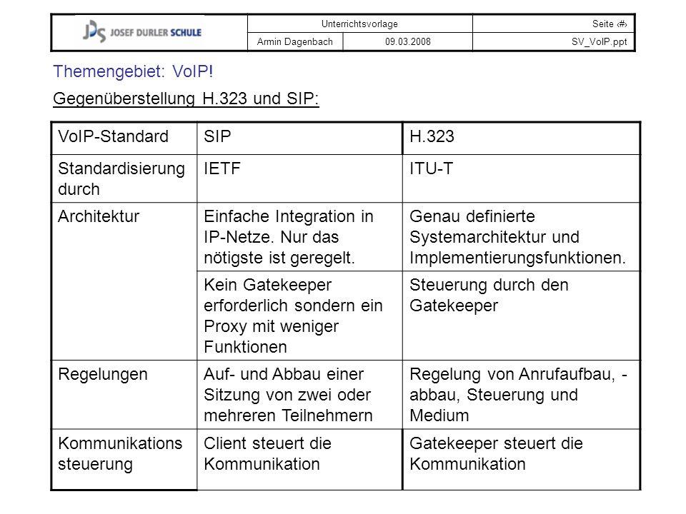 Themengebiet: VoIP! Gegenüberstellung H.323 und SIP: VoIP-Standard. SIP. H.323. Standardisierung durch.