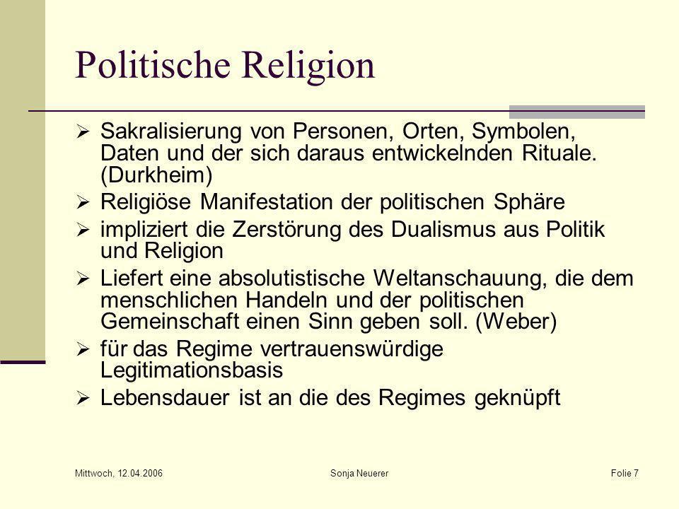 Politische ReligionSakralisierung von Personen, Orten, Symbolen, Daten und der sich daraus entwickelnden Rituale. (Durkheim)