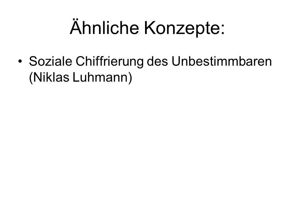Ähnliche Konzepte: Soziale Chiffrierung des Unbestimmbaren (Niklas Luhmann)