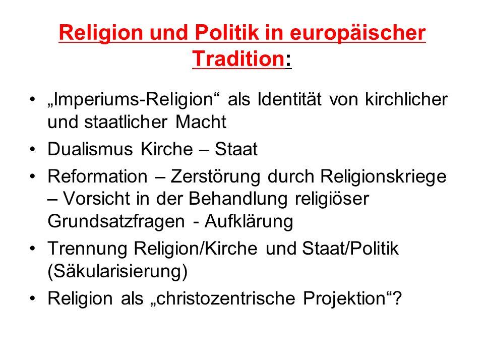 Religion und Politik in europäischer Tradition: