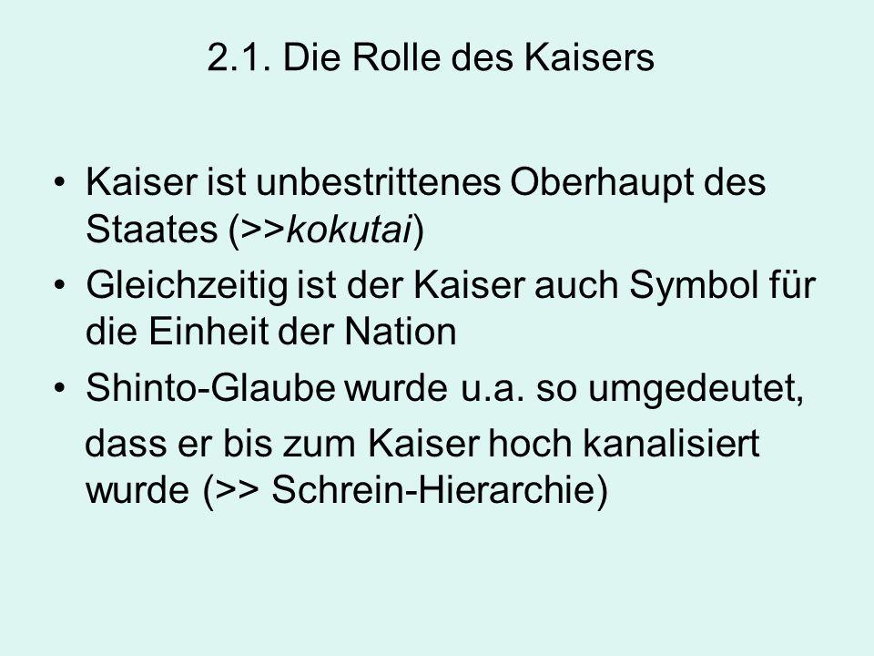 2.1. Die Rolle des Kaisers Kaiser ist unbestrittenes Oberhaupt des Staates (>>kokutai)