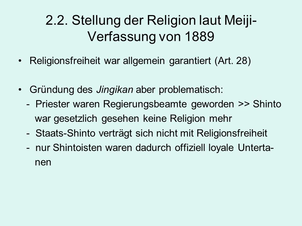 2.2. Stellung der Religion laut Meiji-Verfassung von 1889