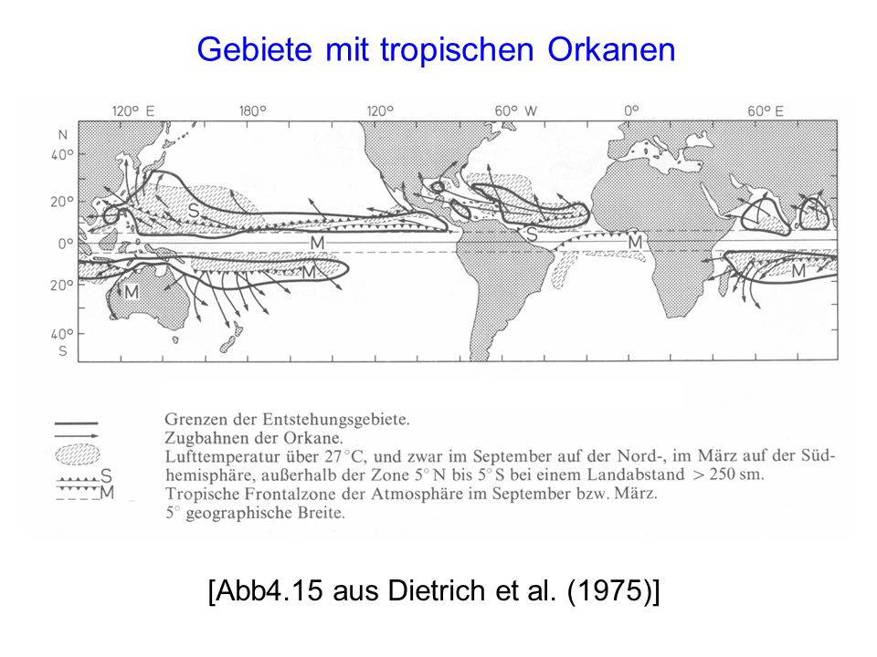 Gebiete mit tropischen Orkanen