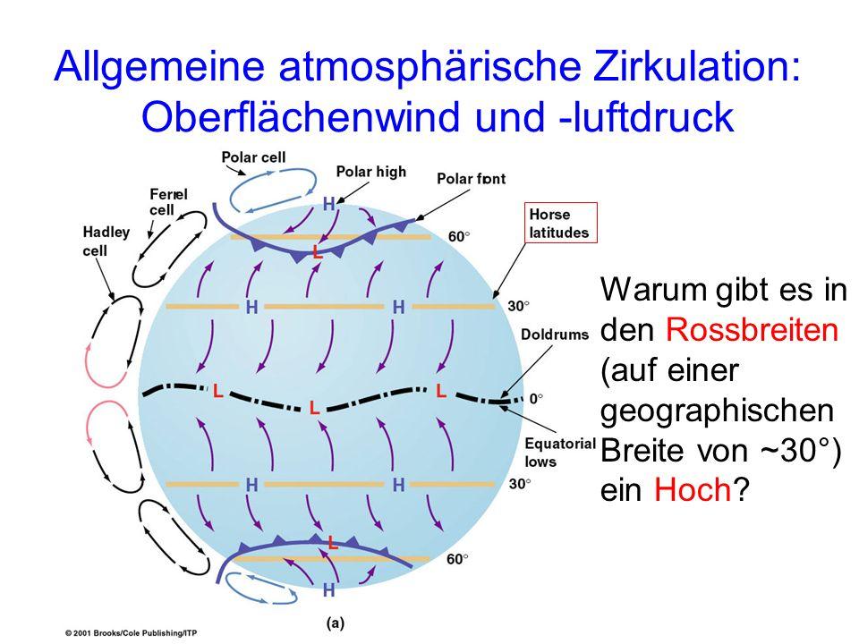 Allgemeine atmosphärische Zirkulation: Oberflächenwind und -luftdruck