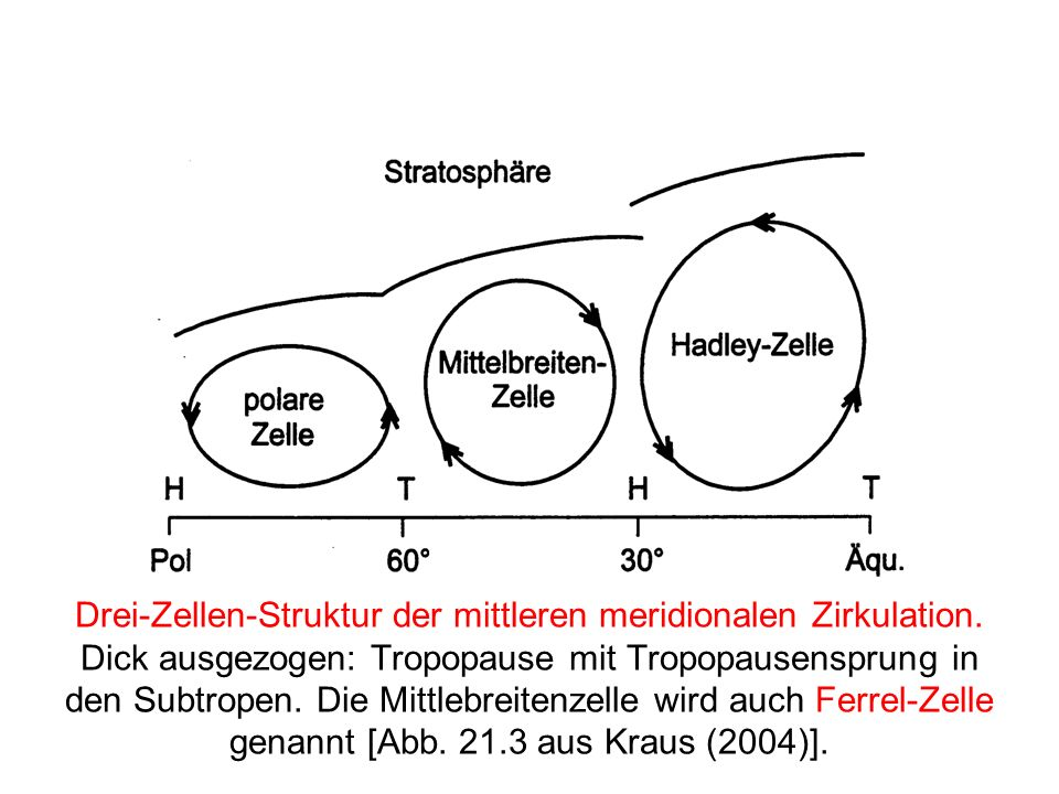 Drei-Zellen-Struktur der mittleren meridionalen Zirkulation