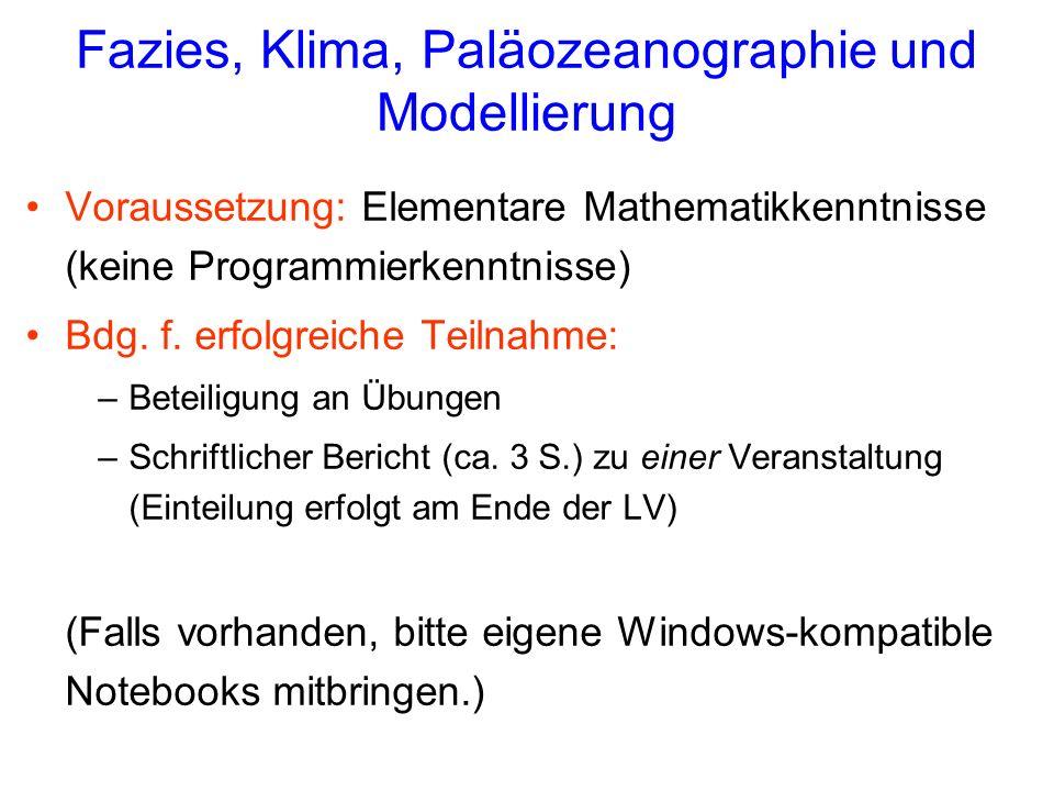 Fazies, Klima, Paläozeanographie und Modellierung