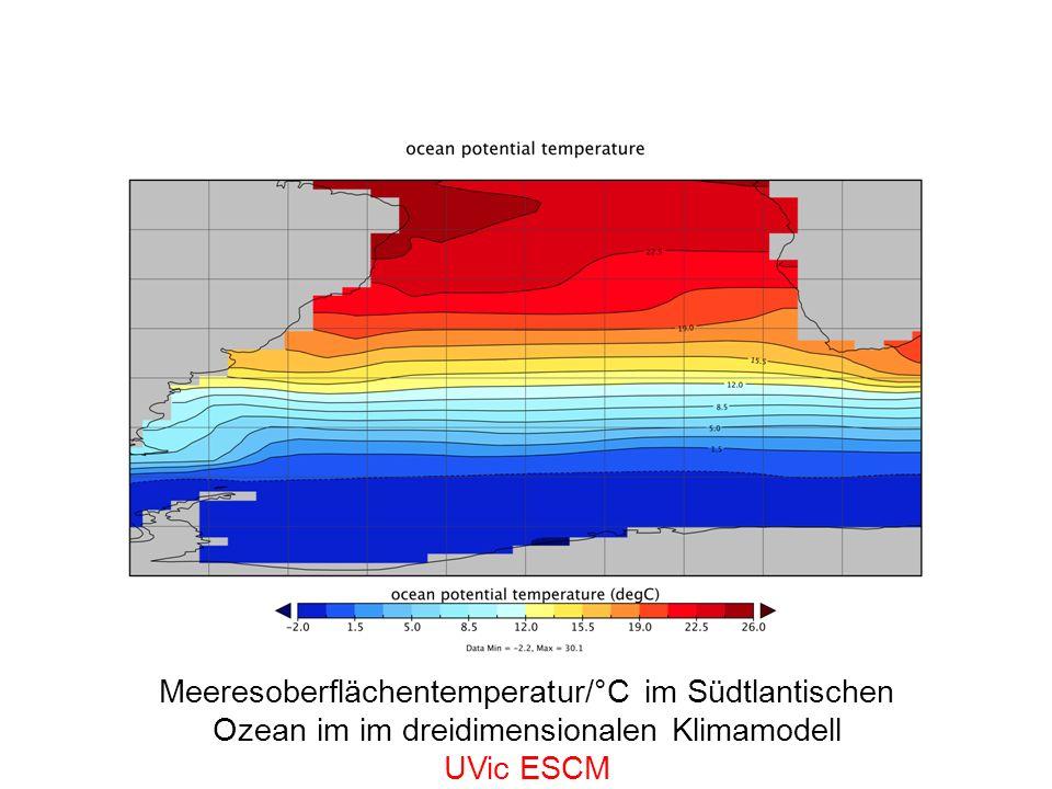 Meeresoberflächentemperatur/°C im Südtlantischen Ozean im im dreidimensionalen Klimamodell