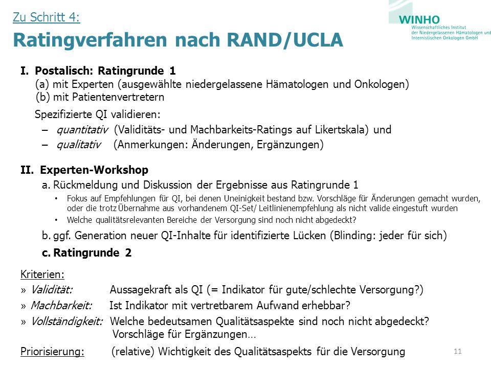 Zu Schritt 4: Ratingverfahren nach RAND/UCLA