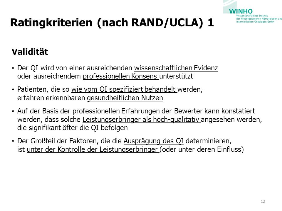 Ratingkriterien (nach RAND/UCLA) 1