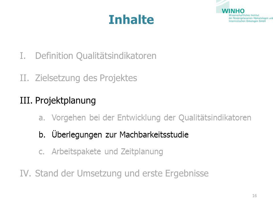 Inhalte Definition Qualitätsindikatoren Zielsetzung des Projektes