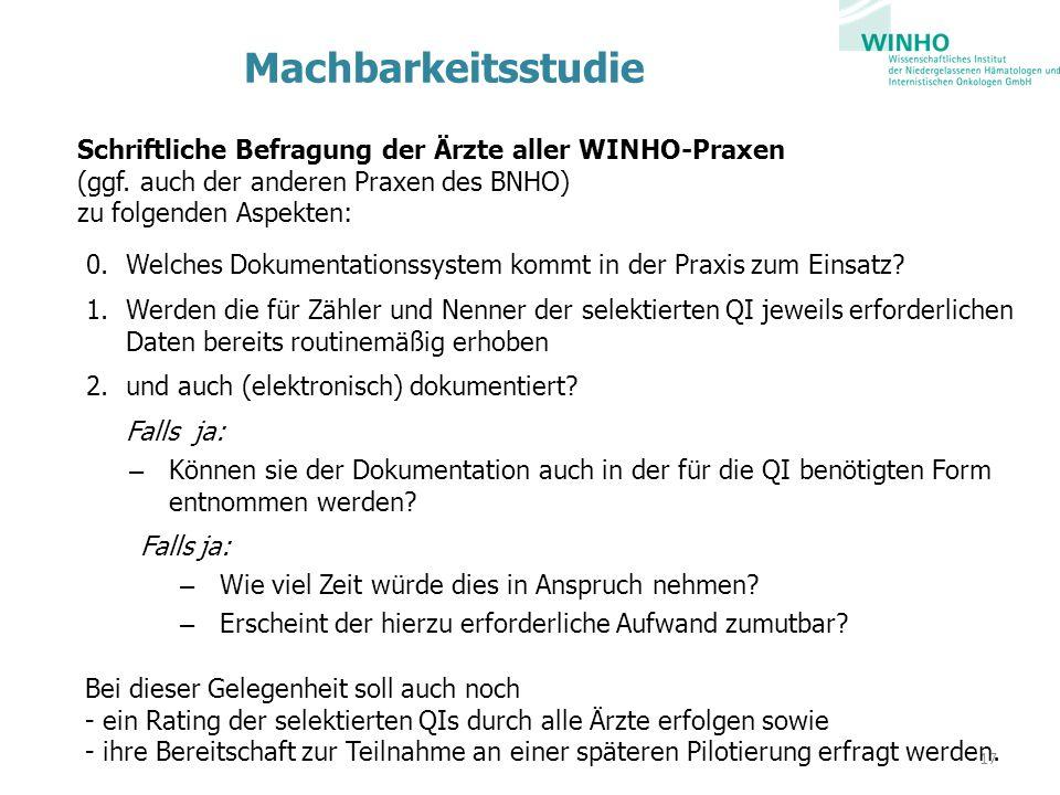 Machbarkeitsstudie Schriftliche Befragung der Ärzte aller WINHO-Praxen (ggf. auch der anderen Praxen des BNHO) zu folgenden Aspekten: