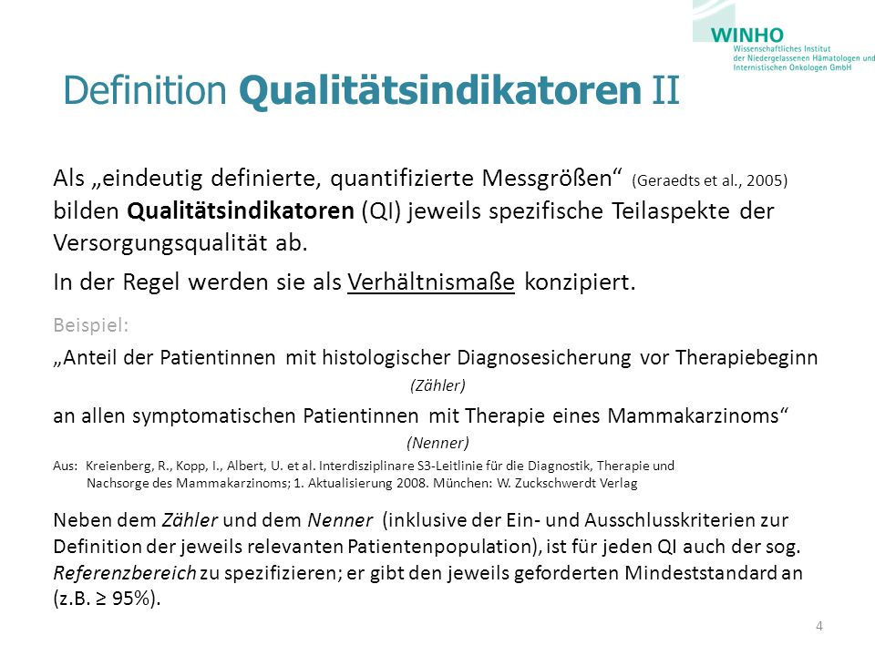 Definition Qualitätsindikatoren II