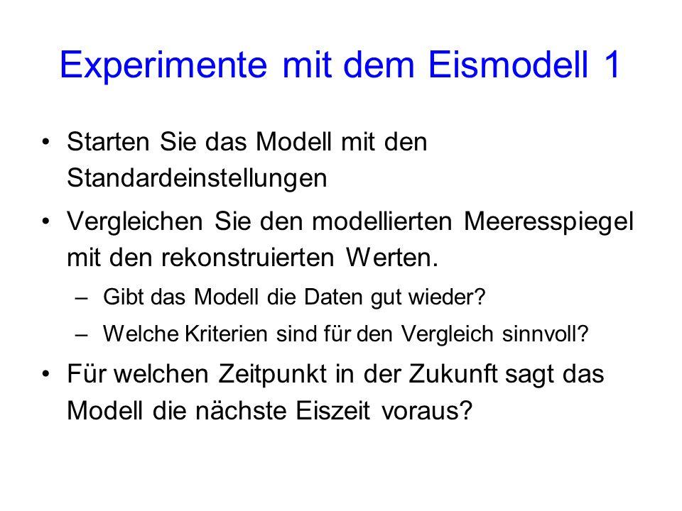 Experimente mit dem Eismodell 1