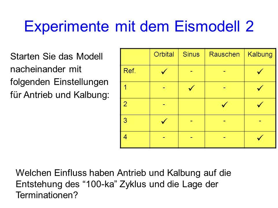 Experimente mit dem Eismodell 2