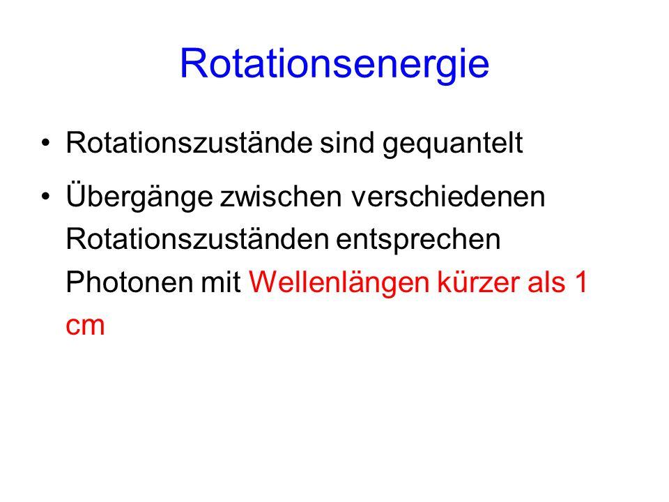 Rotationsenergie Rotationszustände sind gequantelt