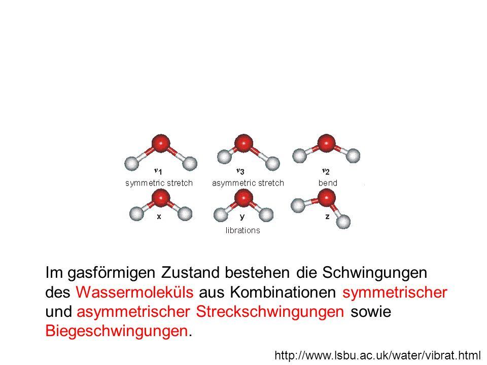 Im gasförmigen Zustand bestehen die Schwingungen des Wassermoleküls aus Kombinationen symmetrischer und asymmetrischer Streckschwingungen sowie Biegeschwingungen.