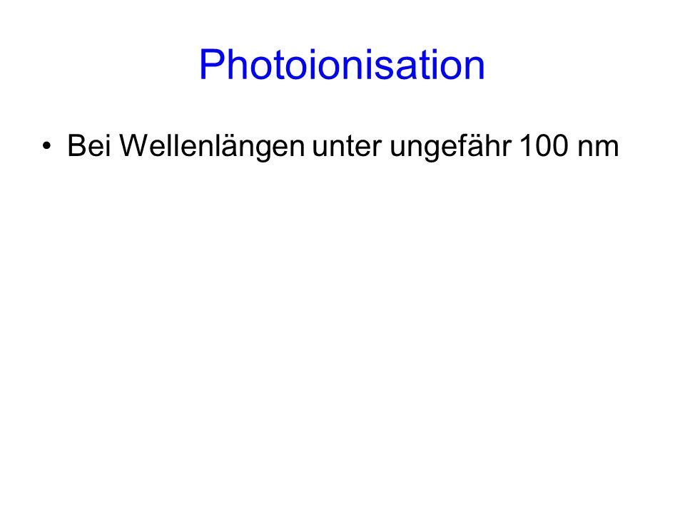 Photoionisation Bei Wellenlängen unter ungefähr 100 nm