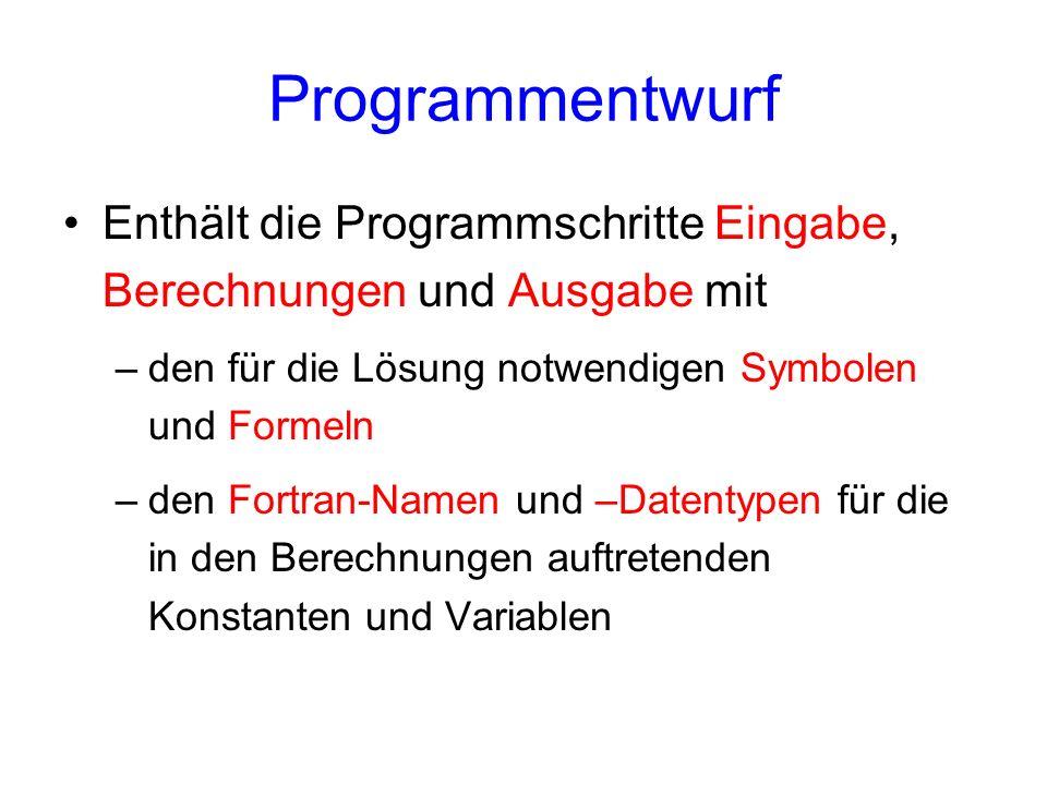 Programmentwurf Enthält die Programmschritte Eingabe, Berechnungen und Ausgabe mit. den für die Lösung notwendigen Symbolen und Formeln.