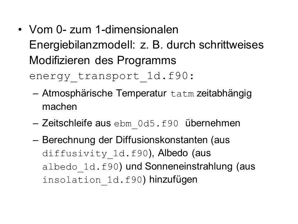 Vom 0- zum 1-dimensionalen Energiebilanzmodell: z. B
