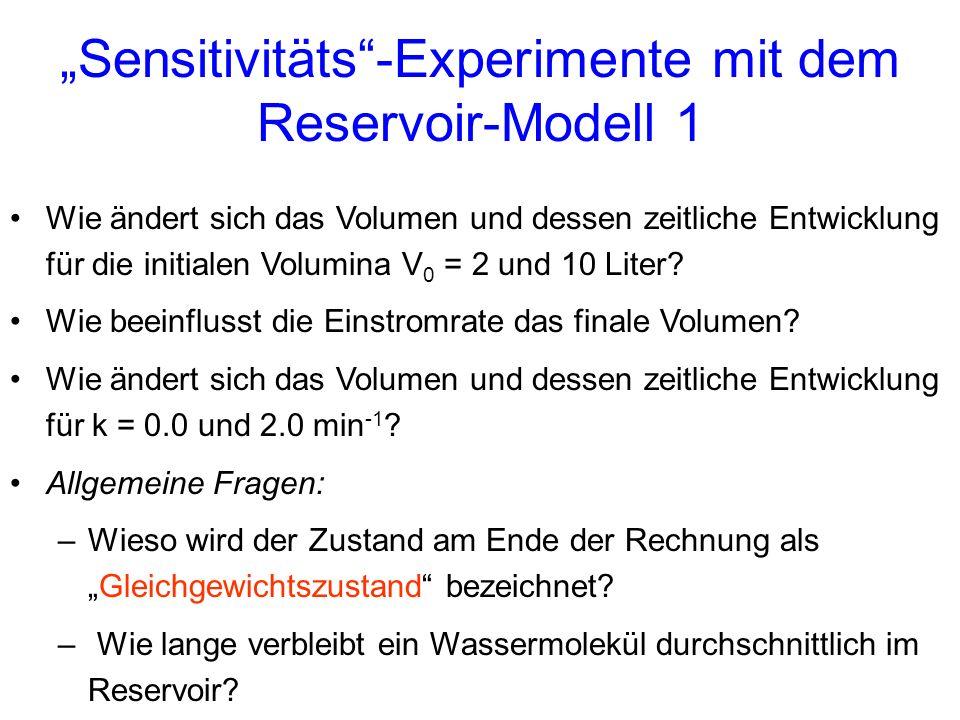 """Sensitivitäts -Experimente mit dem Reservoir-Modell 1"
