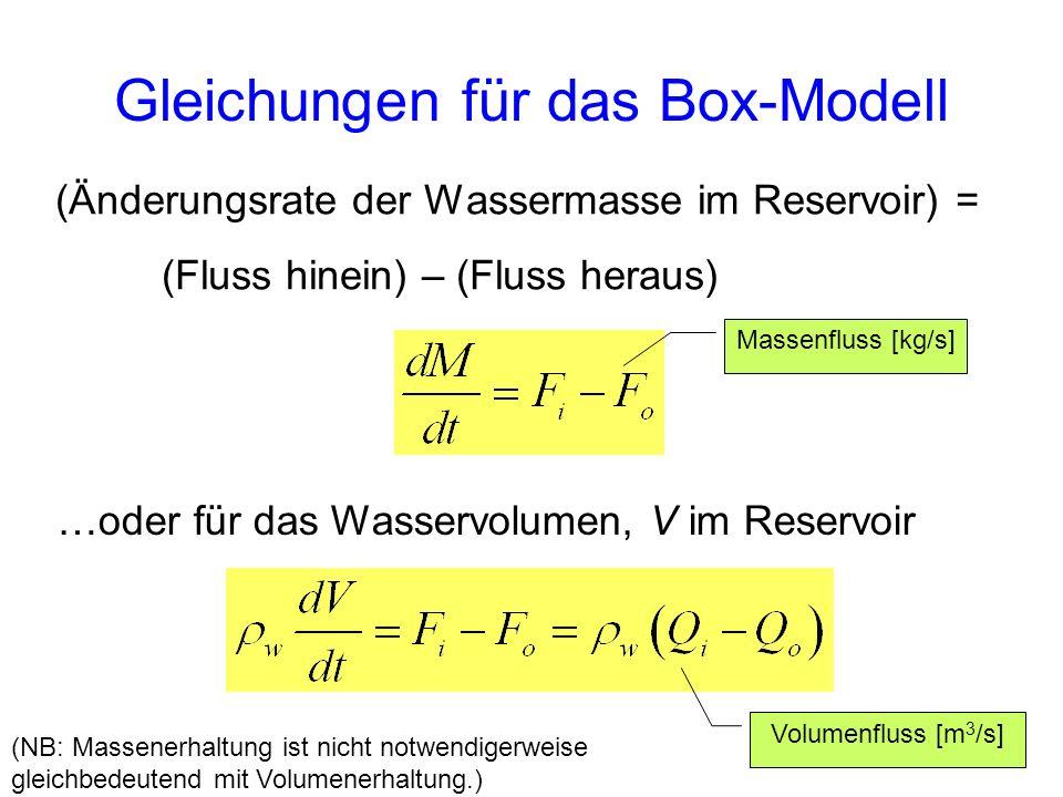 Gleichungen für das Box-Modell