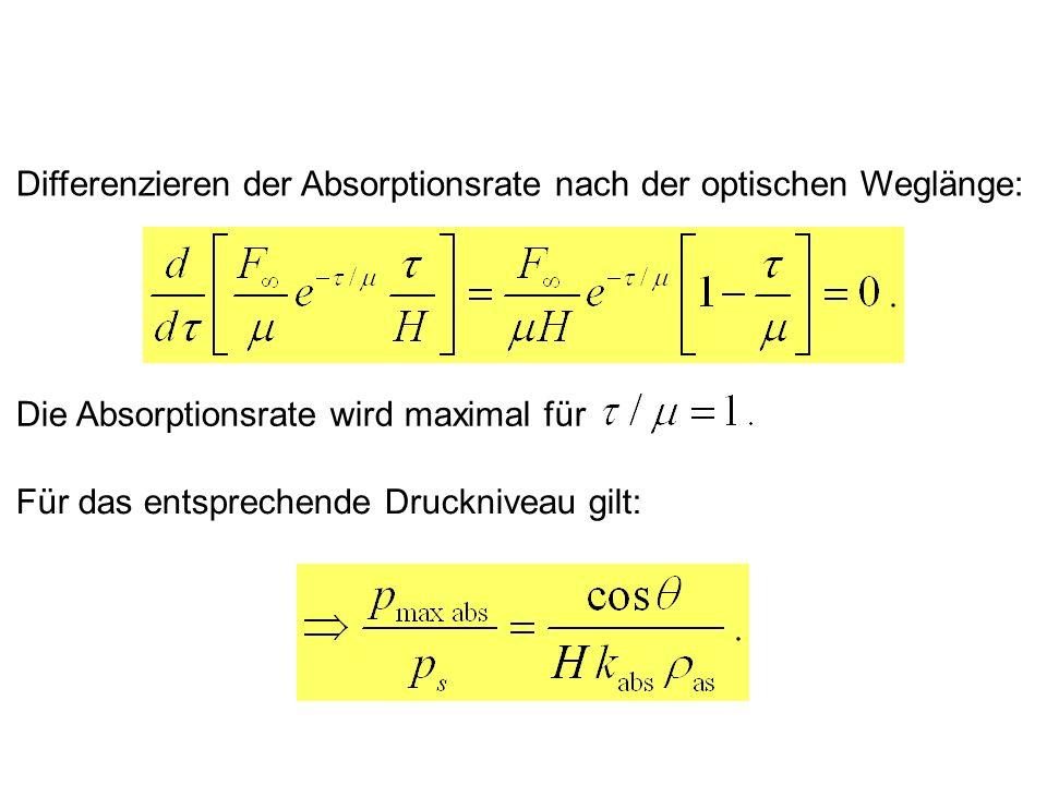 Differenzieren der Absorptionsrate nach der optischen Weglänge: