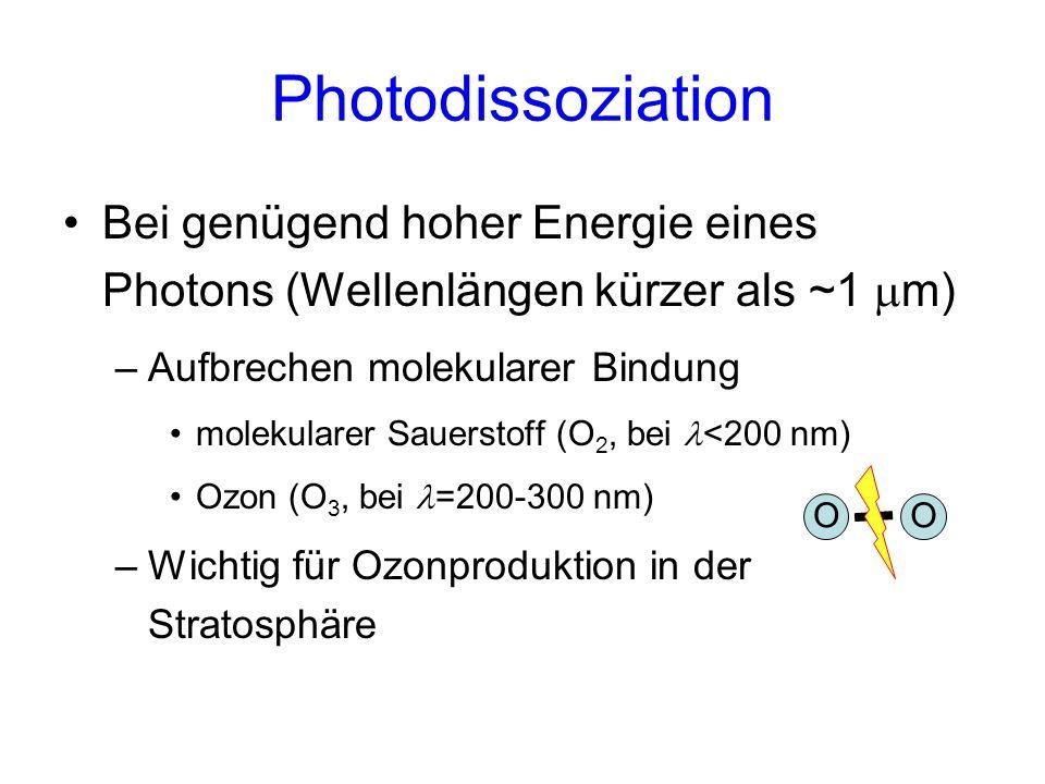 Photodissoziation Bei genügend hoher Energie eines Photons (Wellenlängen kürzer als ~1 mm) Aufbrechen molekularer Bindung.
