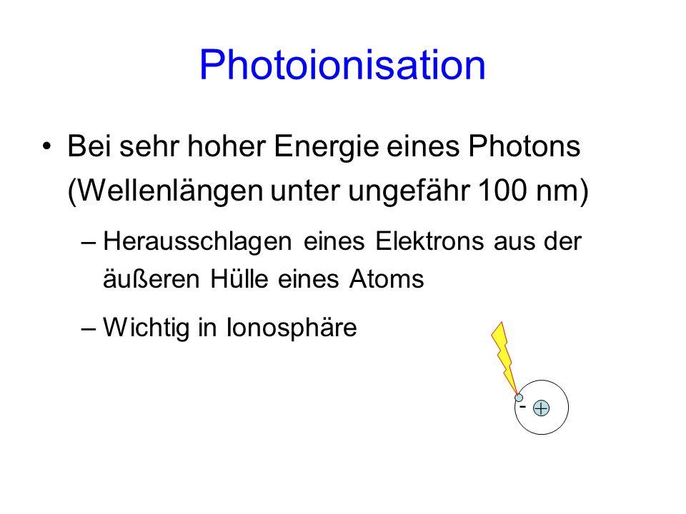 Photoionisation Bei sehr hoher Energie eines Photons (Wellenlängen unter ungefähr 100 nm)