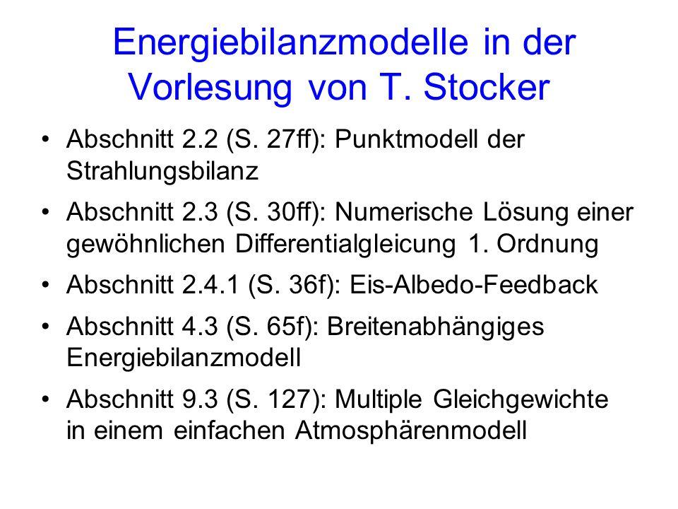 Energiebilanzmodelle in der Vorlesung von T. Stocker