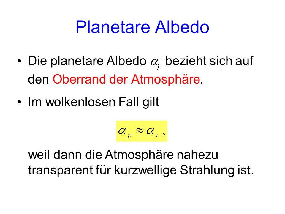Planetare Albedo Die planetare Albedo ap bezieht sich auf den Oberrand der Atmosphäre. Im wolkenlosen Fall gilt.