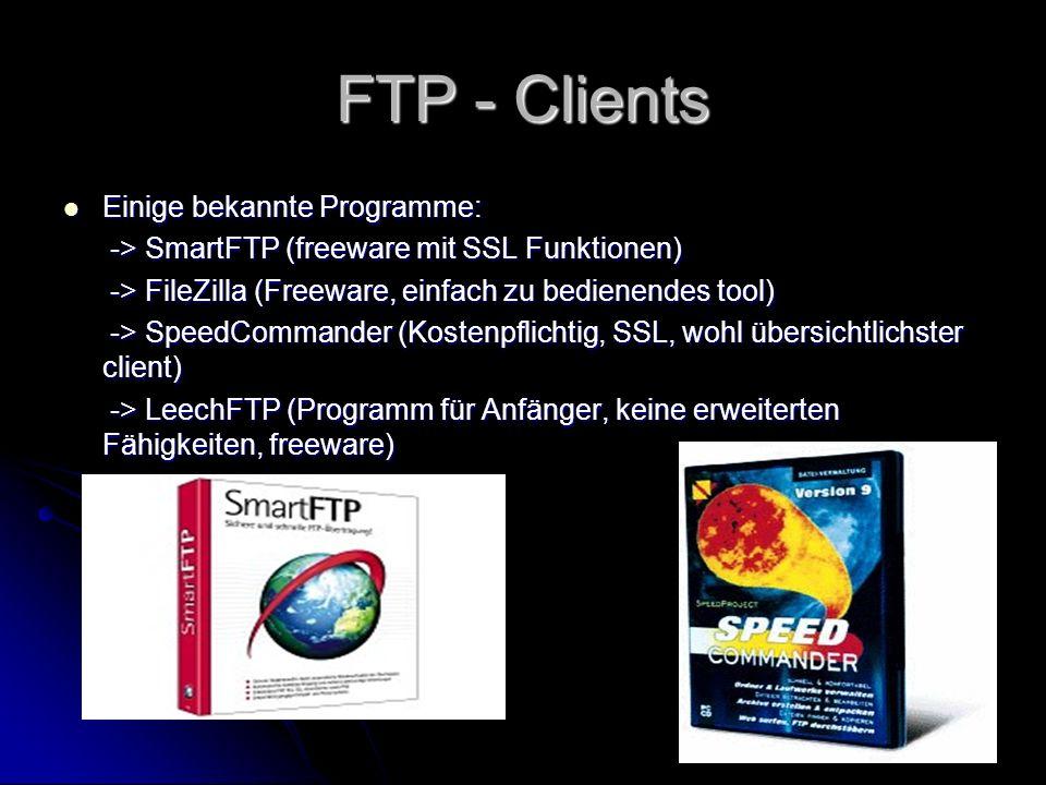 FTP - Clients Einige bekannte Programme: