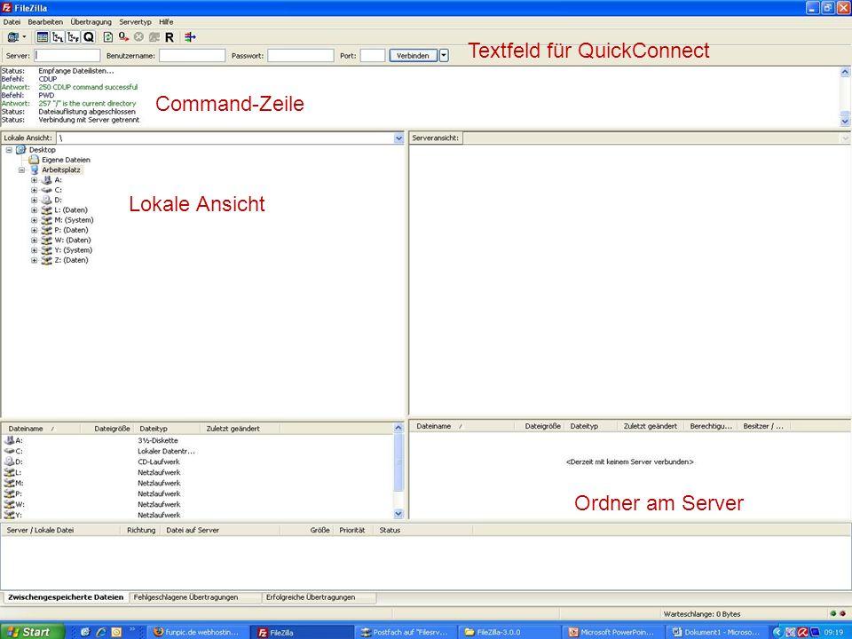 FTP – Was ist es Textfeld für QuickConnect Command-Zeile