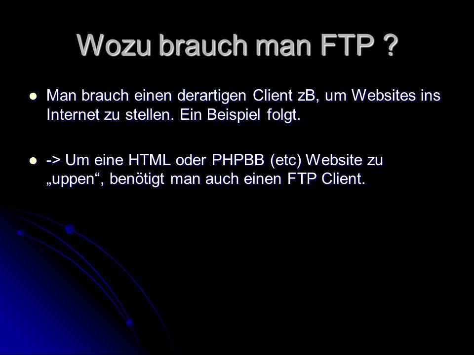 Wozu brauch man FTP Man brauch einen derartigen Client zB, um Websites ins Internet zu stellen. Ein Beispiel folgt.