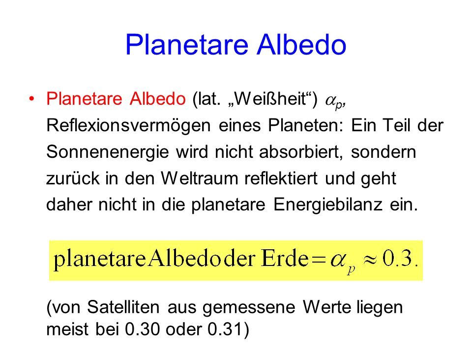 Planetare Albedo