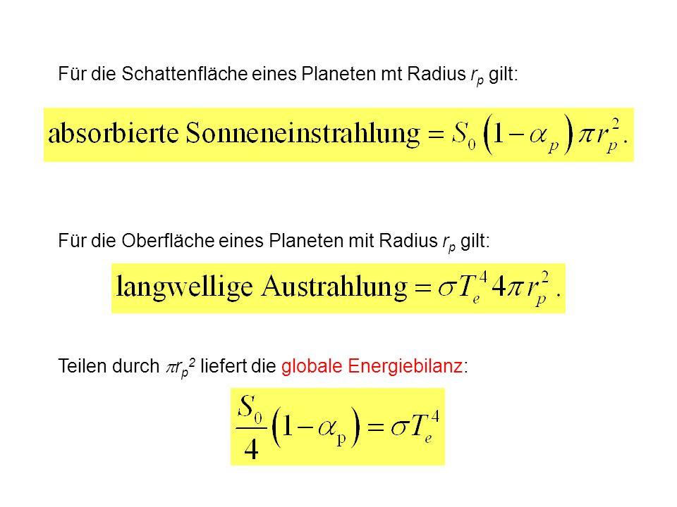 Für die Schattenfläche eines Planeten mt Radius rp gilt: