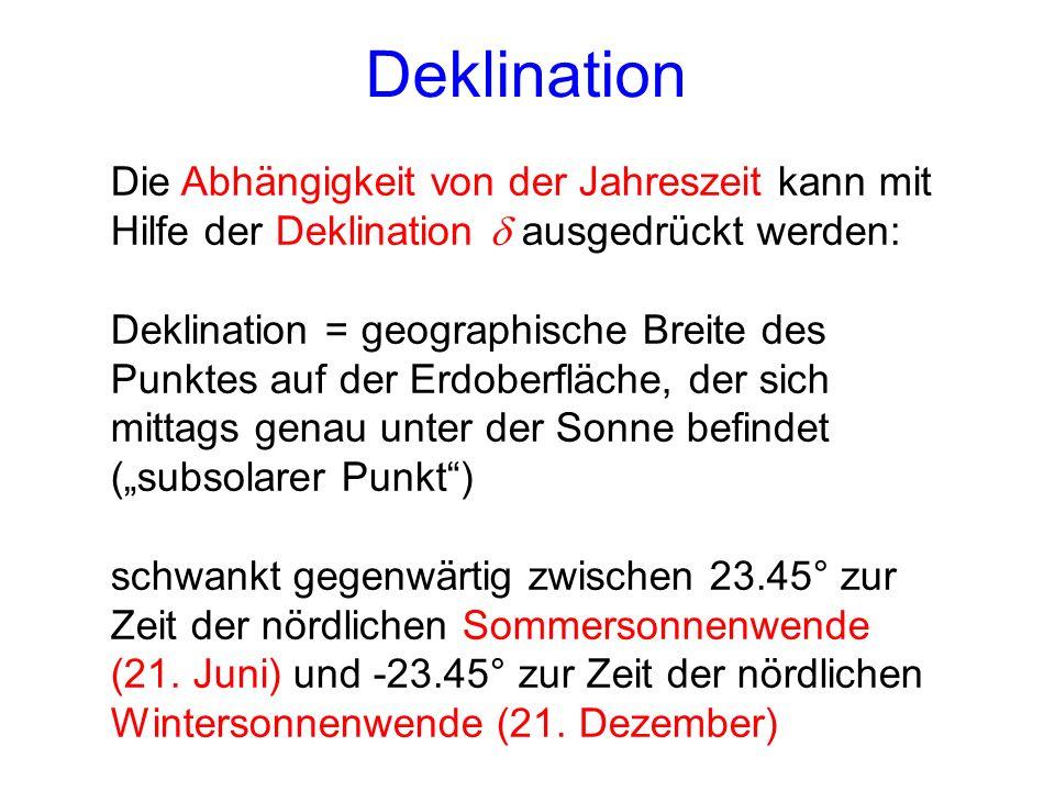 Deklination Die Abhängigkeit von der Jahreszeit kann mit Hilfe der Deklination d ausgedrückt werden: