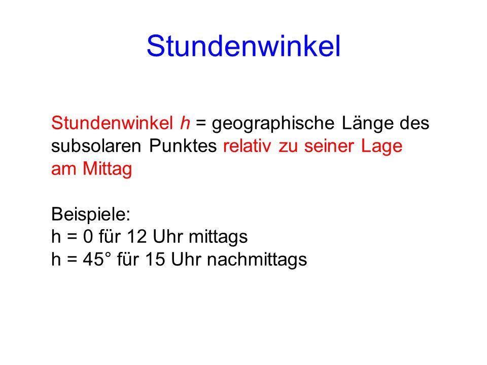 StundenwinkelStundenwinkel h = geographische Länge des subsolaren Punktes relativ zu seiner Lage am Mittag.
