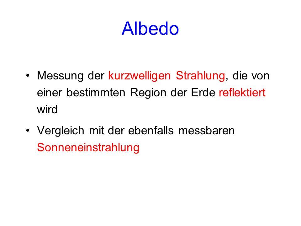 Albedo Messung der kurzwelligen Strahlung, die von einer bestimmten Region der Erde reflektiert wird.