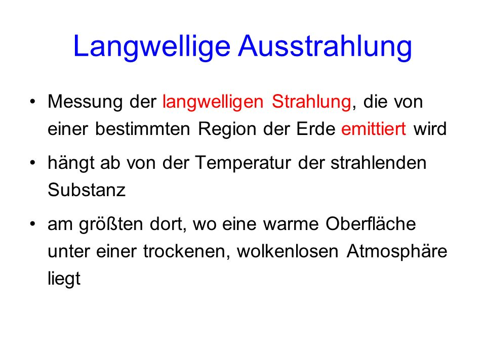 Langwellige Ausstrahlung