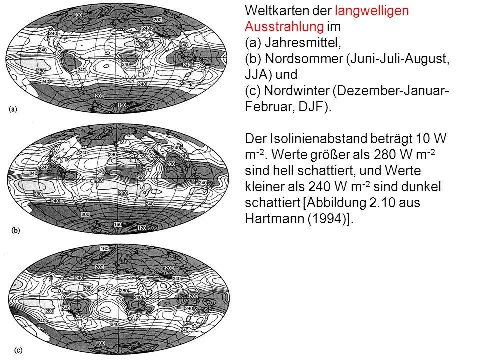 Weltkarten der langwelligen Ausstrahlung im (a) Jahresmittel,