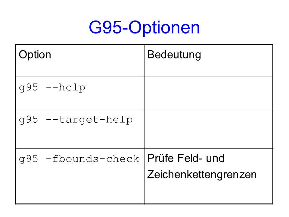 G95-Optionen Option Bedeutung g95 --help g95 --target-help