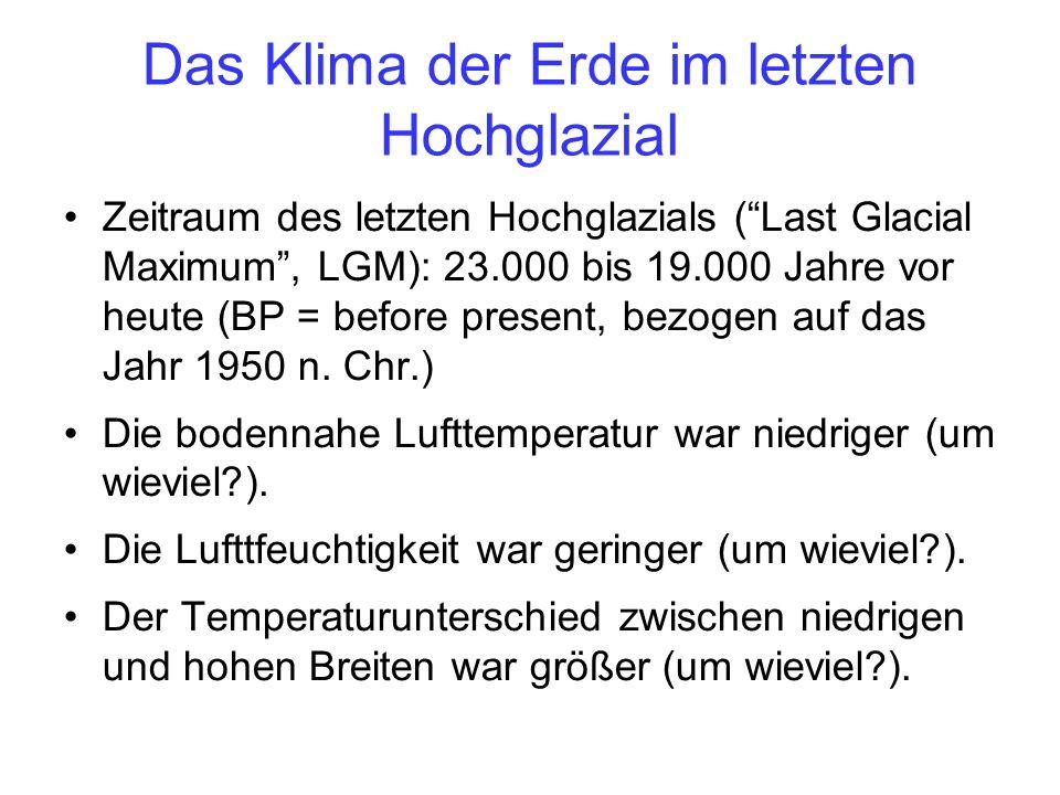 Das Klima der Erde im letzten Hochglazial