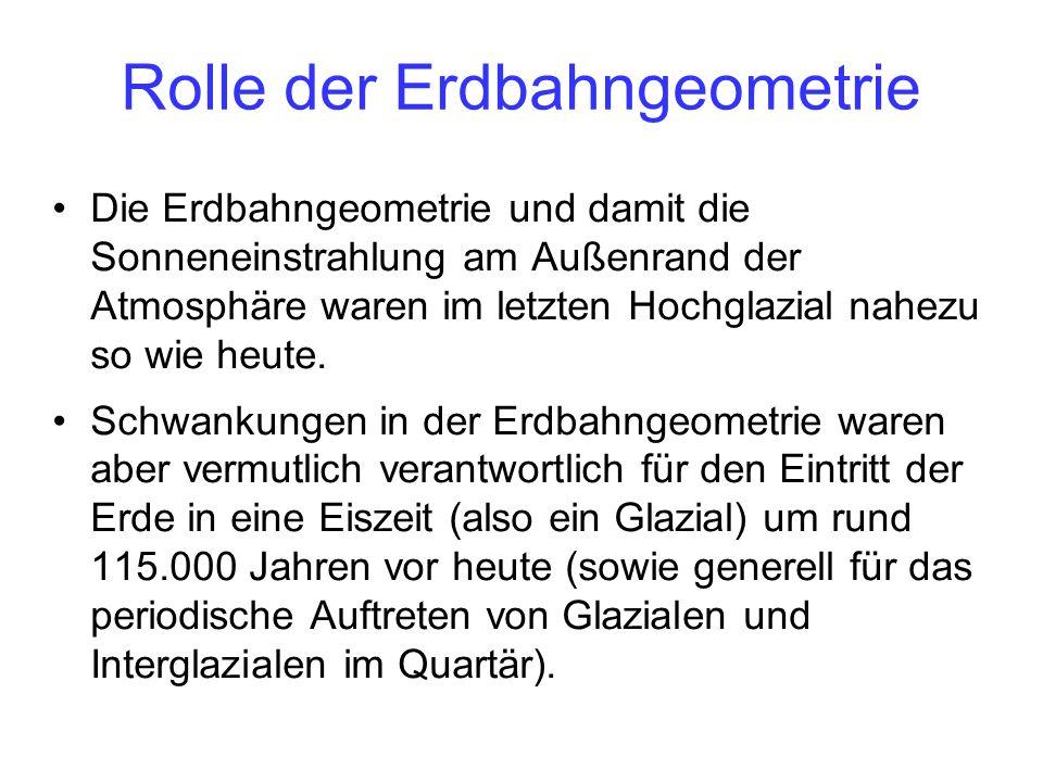 Rolle der Erdbahngeometrie