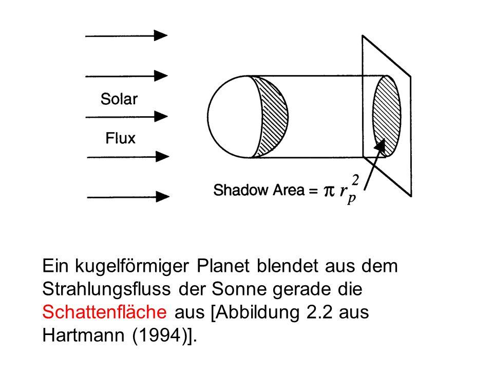 Die Erde empfängt Sonnenstrahlung nur auf einer Halbkugel und so auf dem Empfänger-Querschnitt pi R_Erde^2 einen Strahlungsfluss I_K pi R_Erde^2 (Kraus, Abschnitt 9.3, S. 109).
