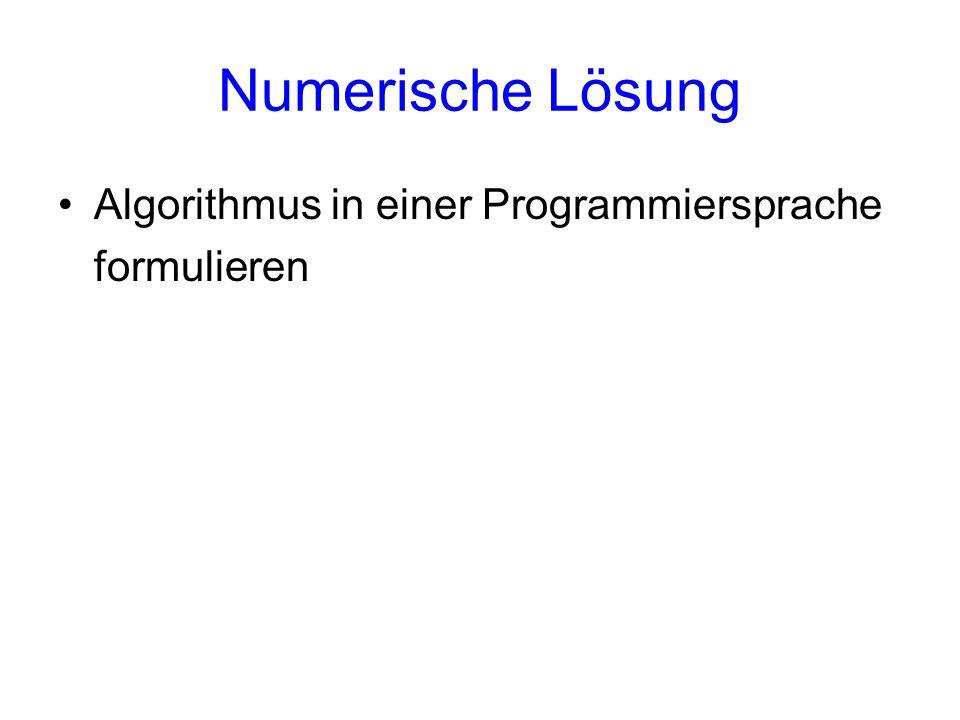 Numerische Lösung Algorithmus in einer Programmiersprache formulieren