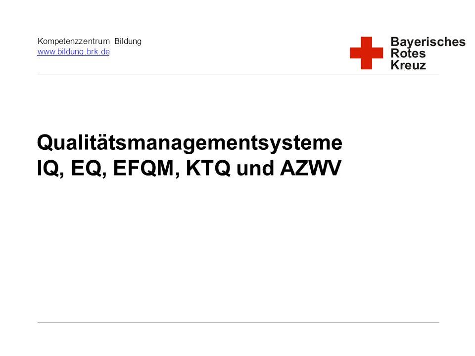 Qualitätsmanagementsysteme IQ, EQ, EFQM, KTQ und AZWV