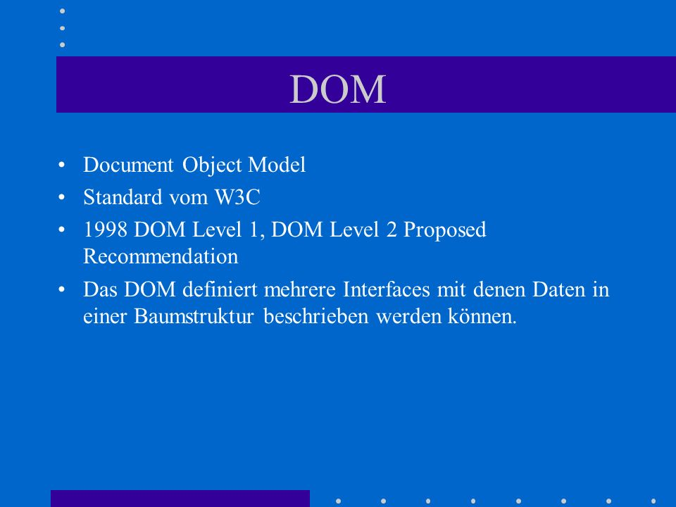 DOM Document Object Model Standard vom W3C